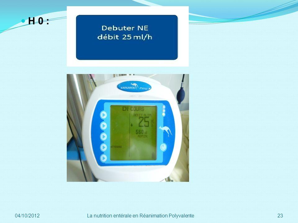 H 0 : 04/10/2012 La nutrition entérale en Réanimation Polyvalente