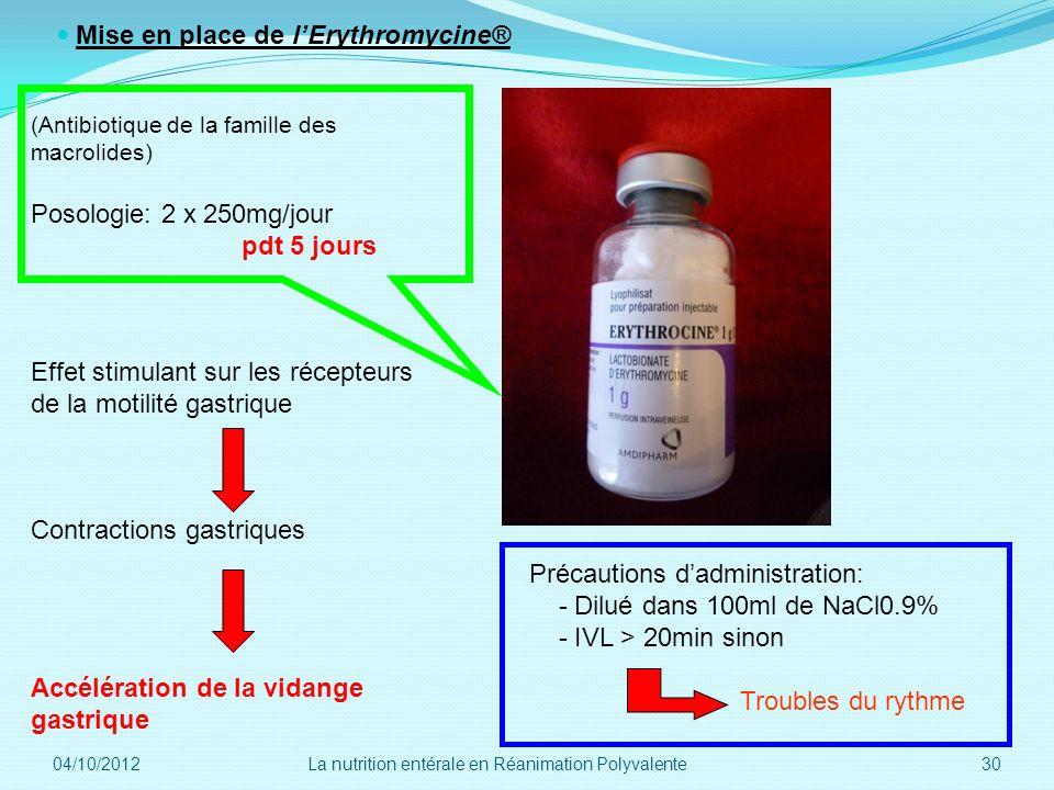 Mise en place de l'Erythromycine®