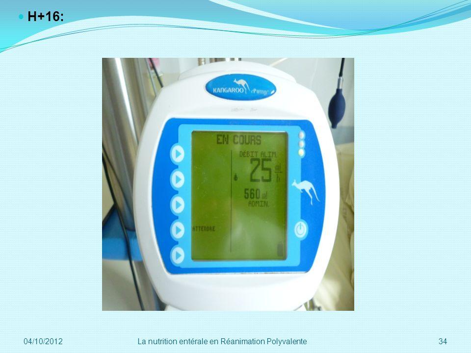 08/12/2011 H+16: 6. 04/10/2012. La nutrition entérale en Réanimation Polyvalente.