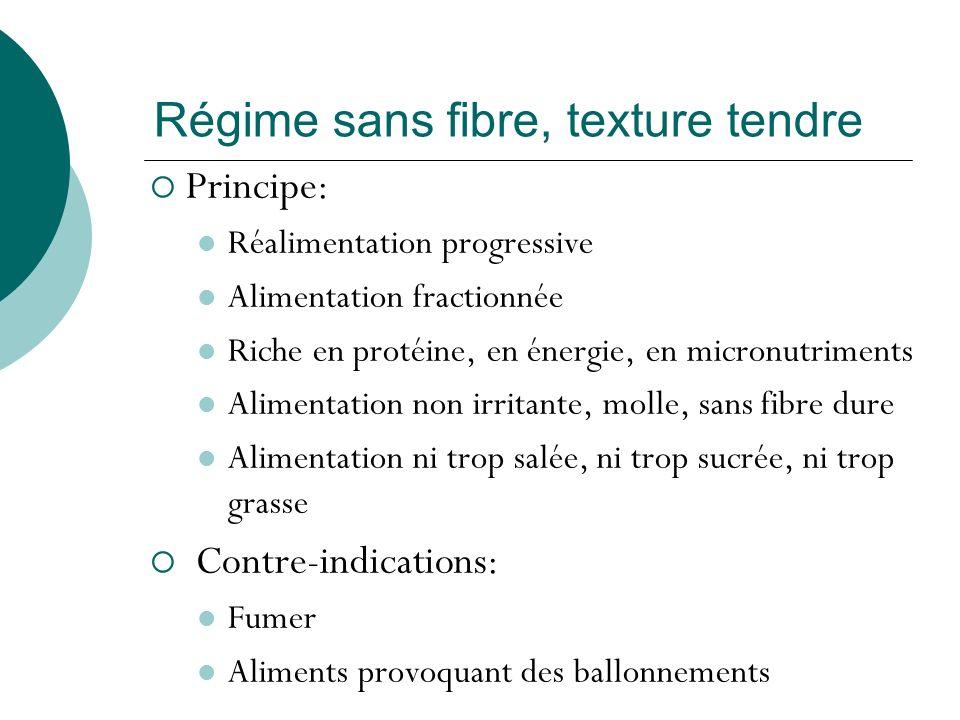 Régime sans fibre, texture tendre