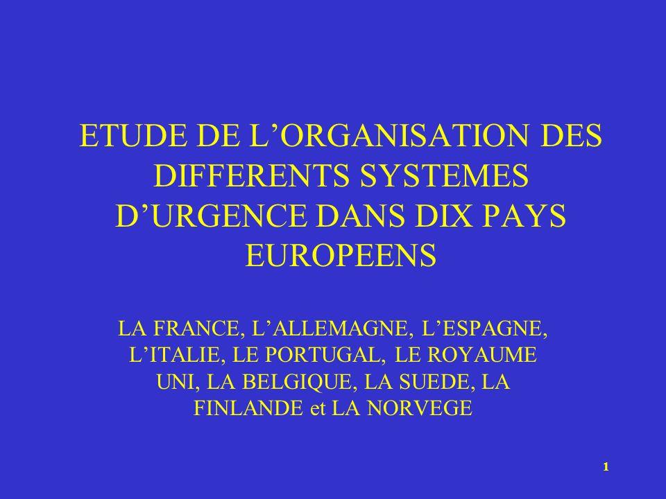 ETUDE DE L'ORGANISATION DES DIFFERENTS SYSTEMES D'URGENCE DANS DIX PAYS EUROPEENS