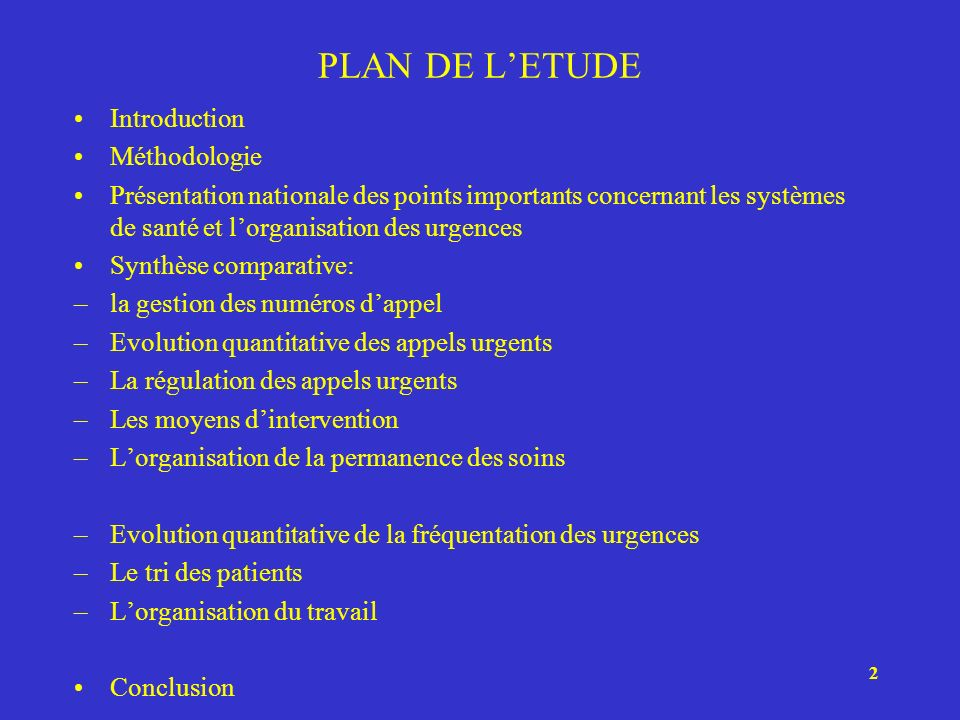 PLAN DE L'ETUDE Introduction Méthodologie