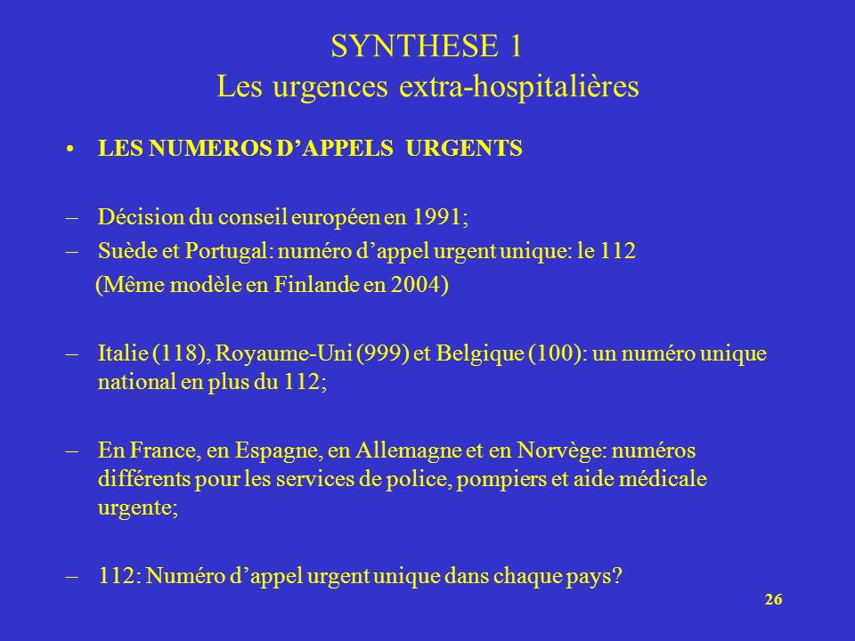 SYNTHESE 1 Les urgences extra-hospitalières