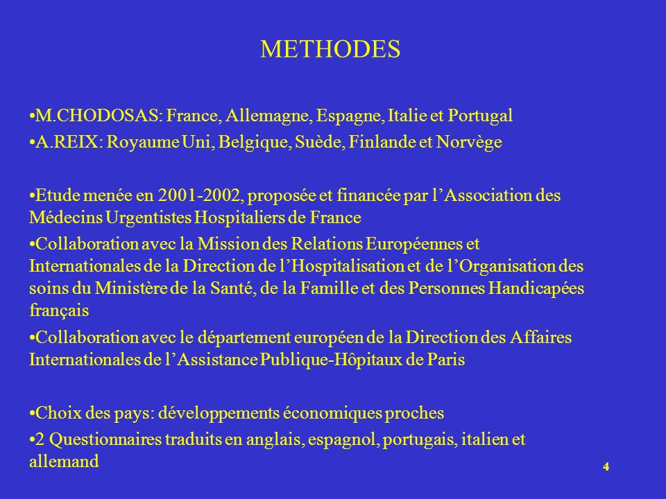 METHODES M.CHODOSAS: France, Allemagne, Espagne, Italie et Portugal