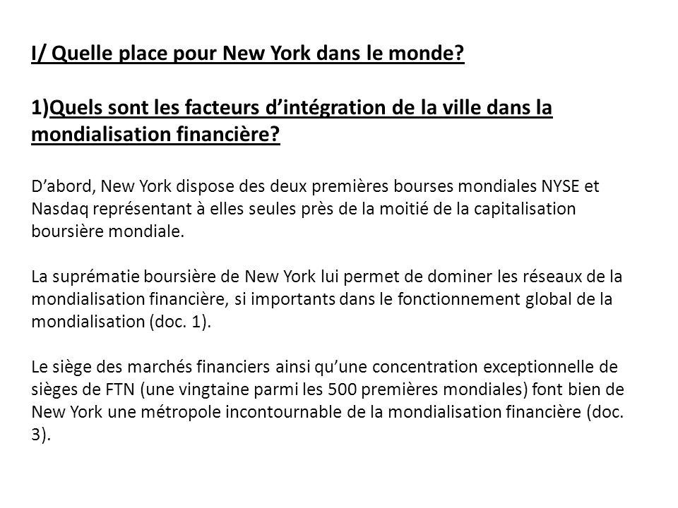 I/ Quelle place pour New York dans le monde