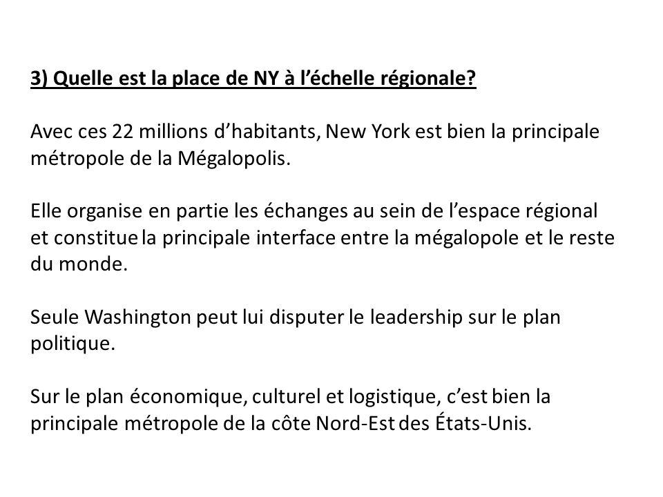 3) Quelle est la place de NY à l'échelle régionale