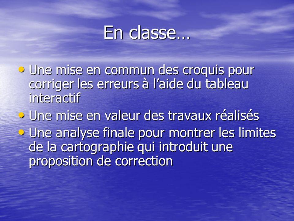En classe… Une mise en commun des croquis pour corriger les erreurs à l'aide du tableau interactif.