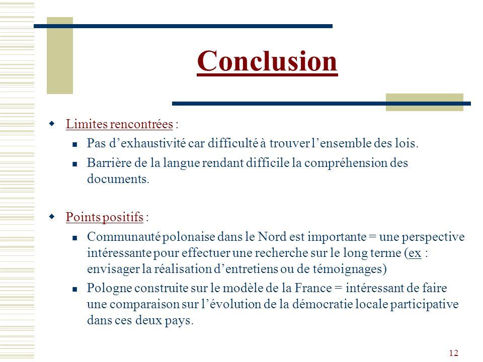 Conclusion Limites rencontrées :