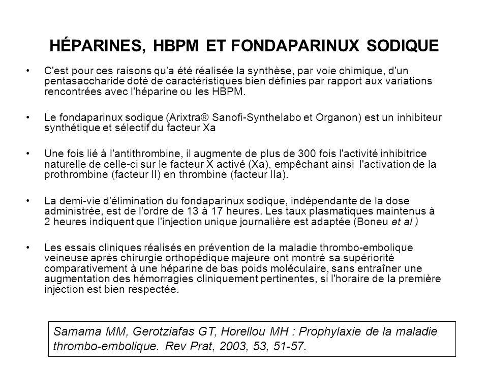HÉPARINES, HBPM ET FONDAPARINUX SODIQUE