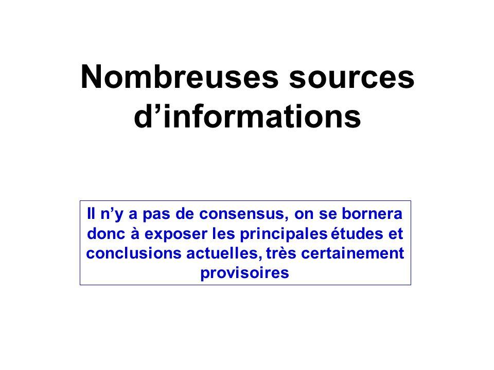 Nombreuses sources d'informations