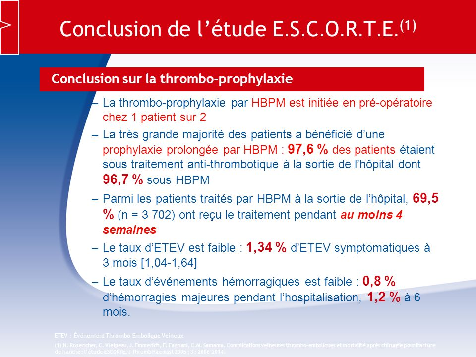 Conclusion de l'étude E.S.C.O.R.T.E.(1)