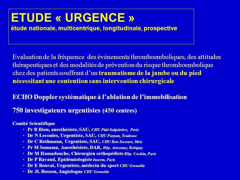 ETUDE « URGENCE » 750 investigateurs urgentistes (450 centres)