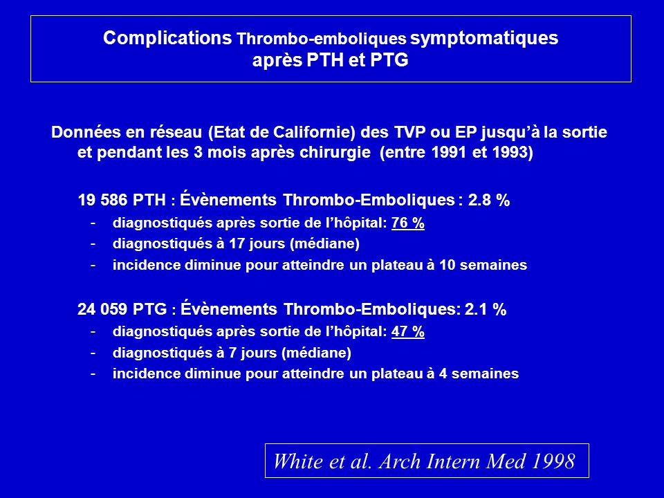 Complications Thrombo-emboliques symptomatiques après PTH et PTG