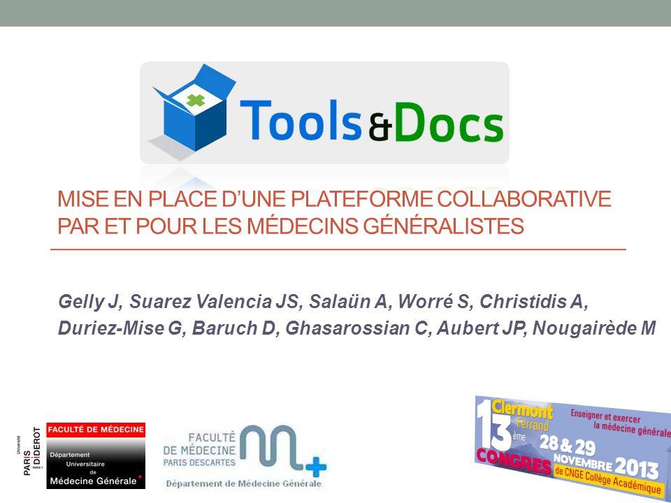 Mise en place d'une plateforme collaborative par et pour les médecins généralistes