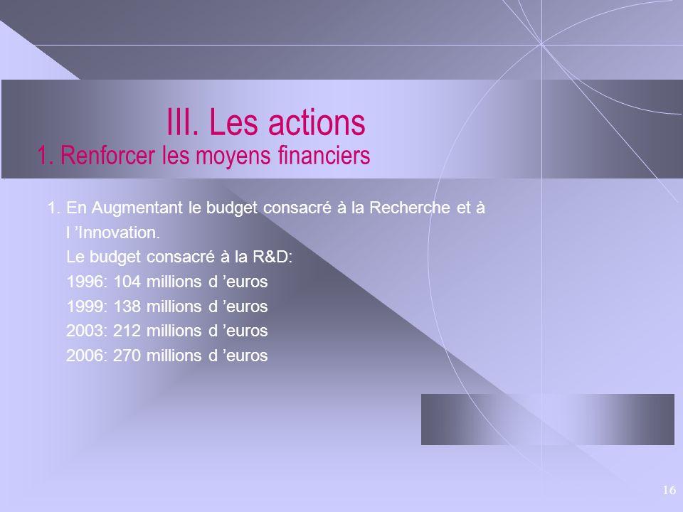 III. Les actions 1. Renforcer les moyens financiers