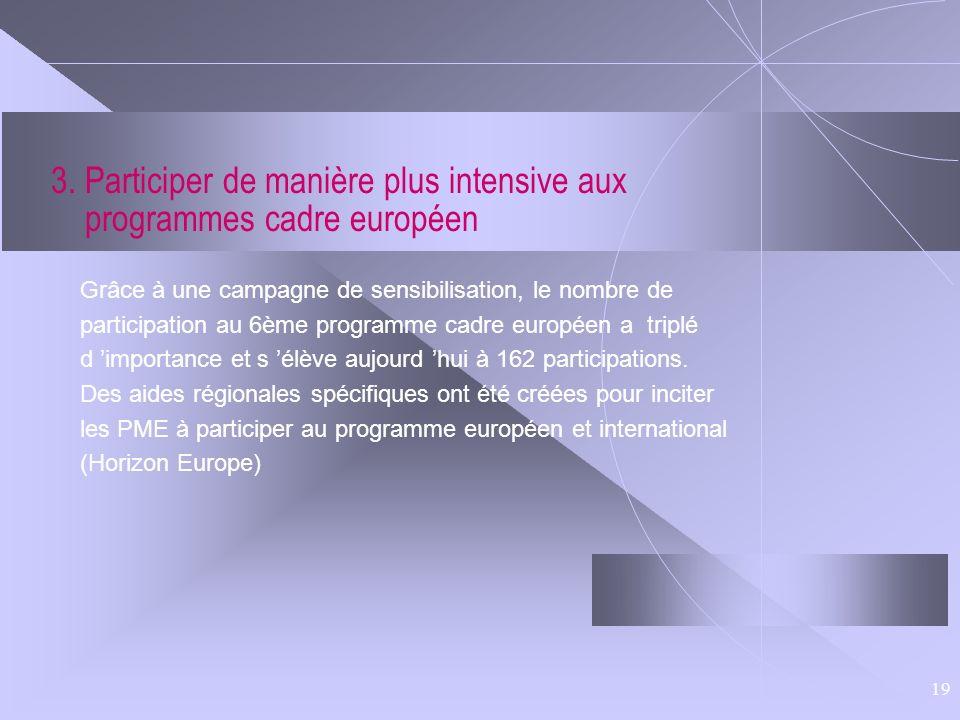 3. Participer de manière plus intensive aux programmes cadre européen