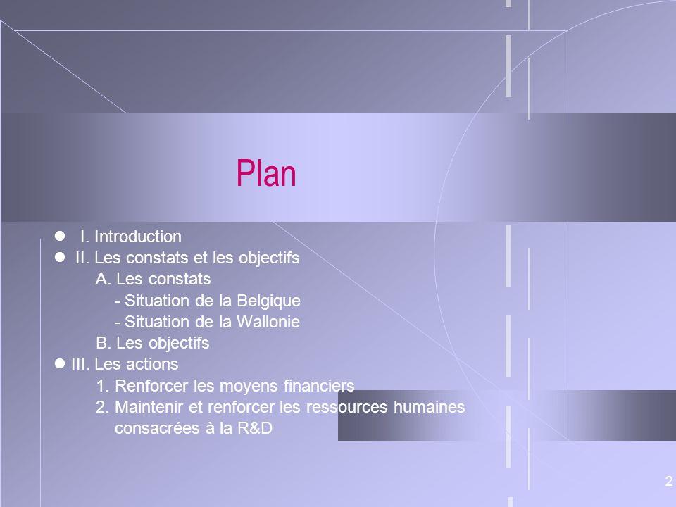 Plan  I. Introduction  II. Les constats et les objectifs