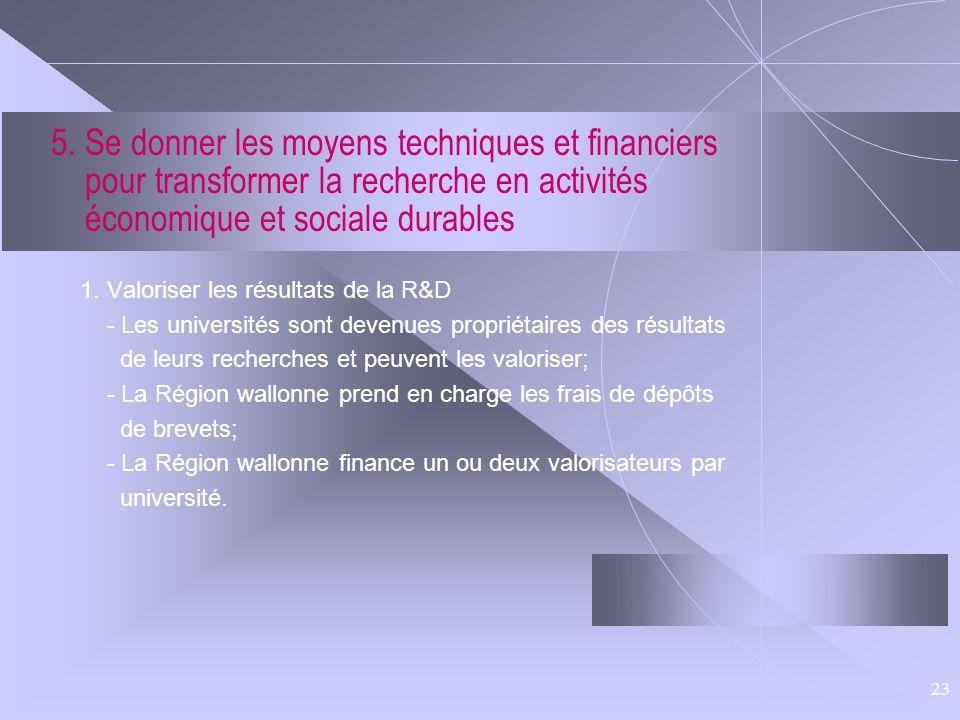 5. Se donner les moyens techniques et financiers pour transformer la recherche en activités économique et sociale durables