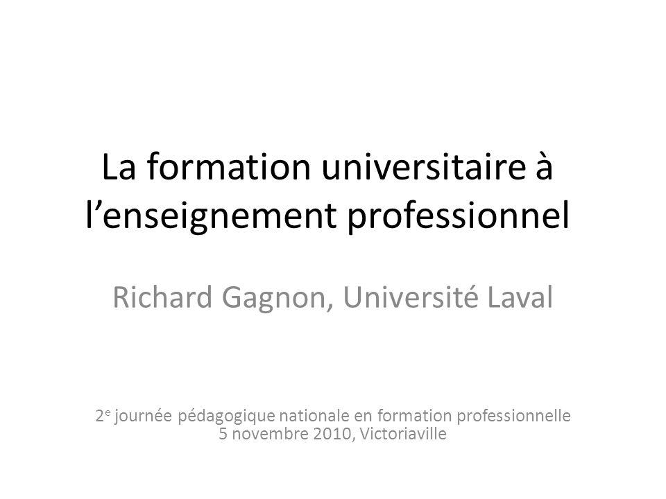La formation universitaire à l'enseignement professionnel