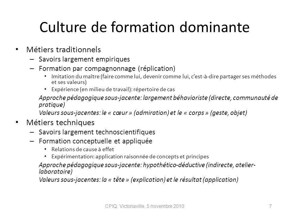 Culture de formation dominante