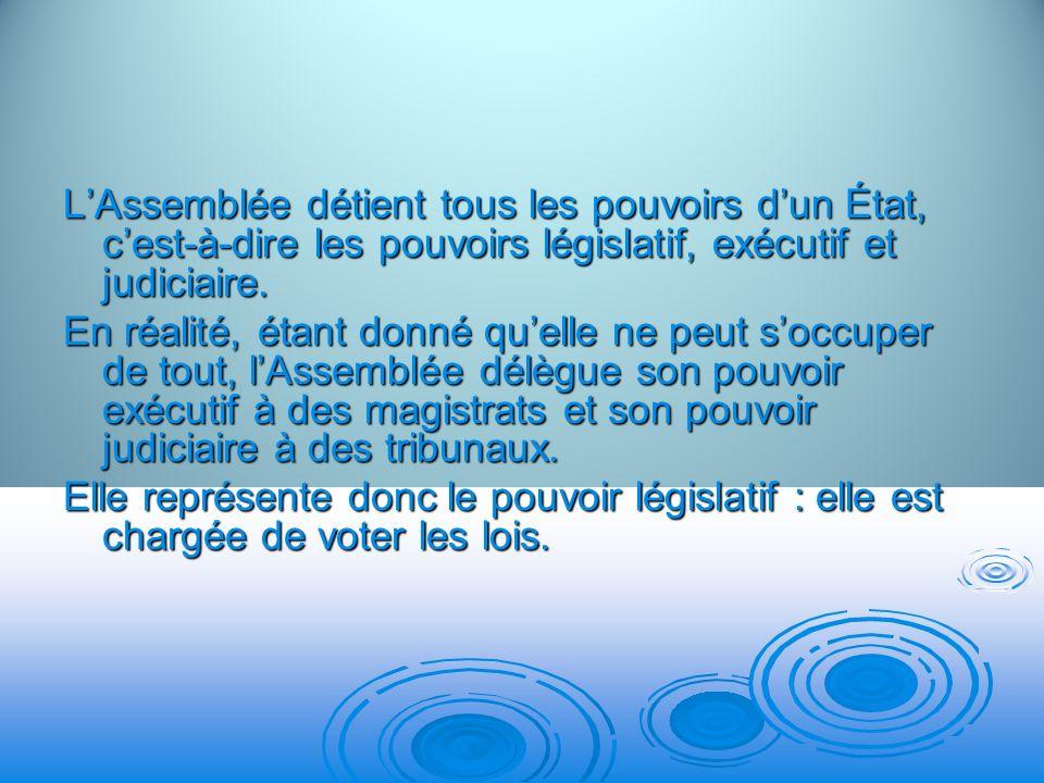 L'Assemblée détient tous les pouvoirs d'un État, c'est-à-dire les pouvoirs législatif, exécutif et judiciaire.