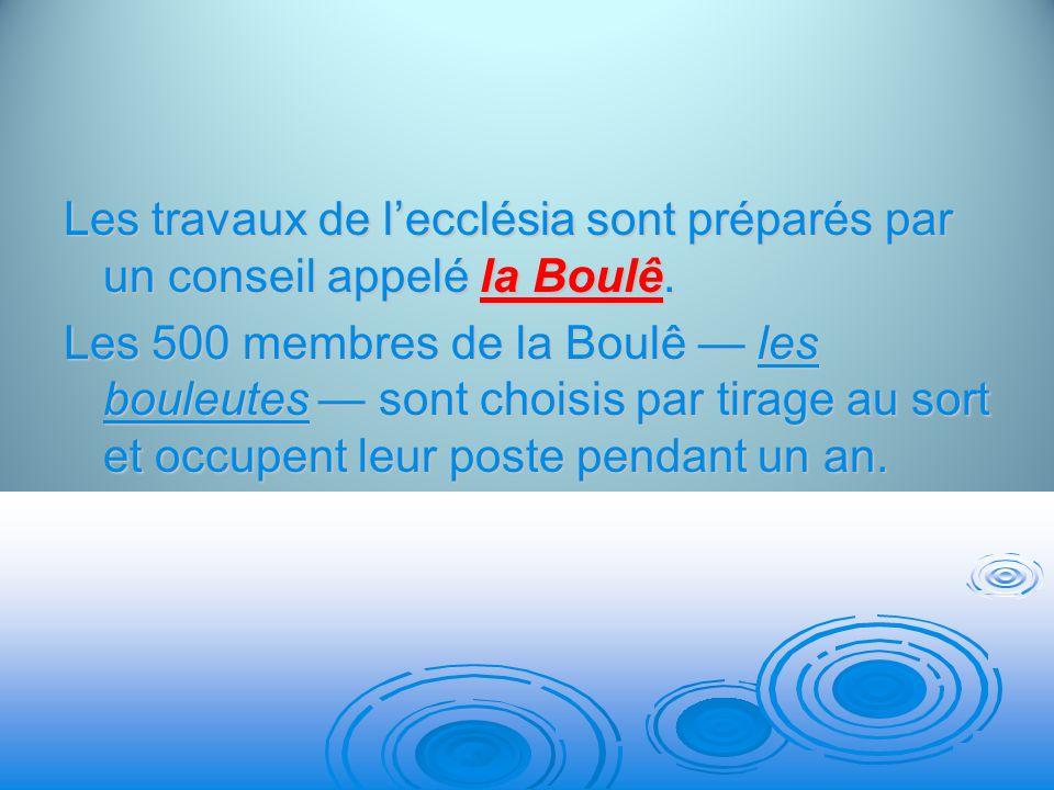 Les travaux de l'ecclésia sont préparés par un conseil appelé la Boulê.
