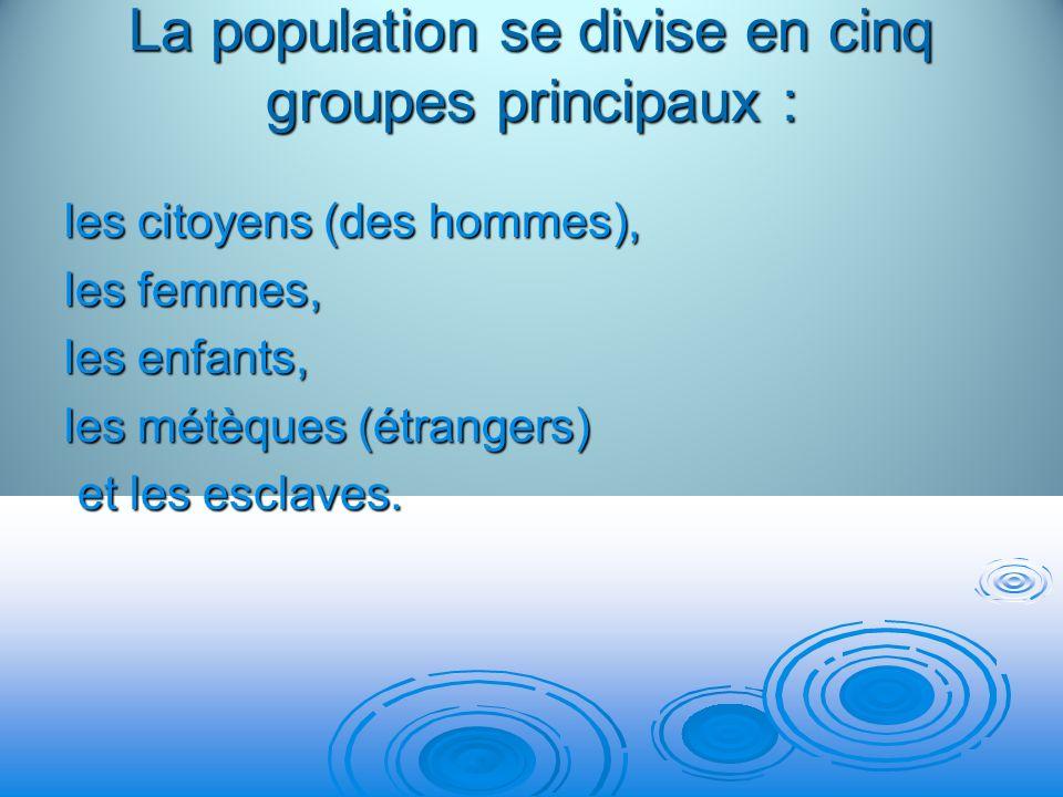 La population se divise en cinq groupes principaux :