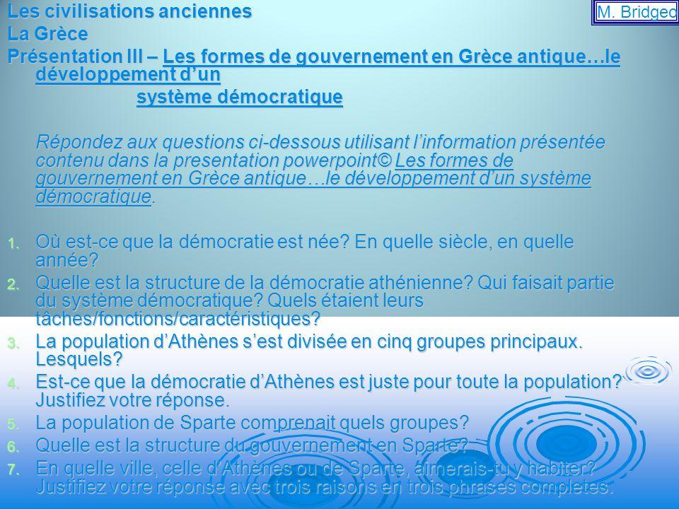 Les civilisations anciennes La Grèce