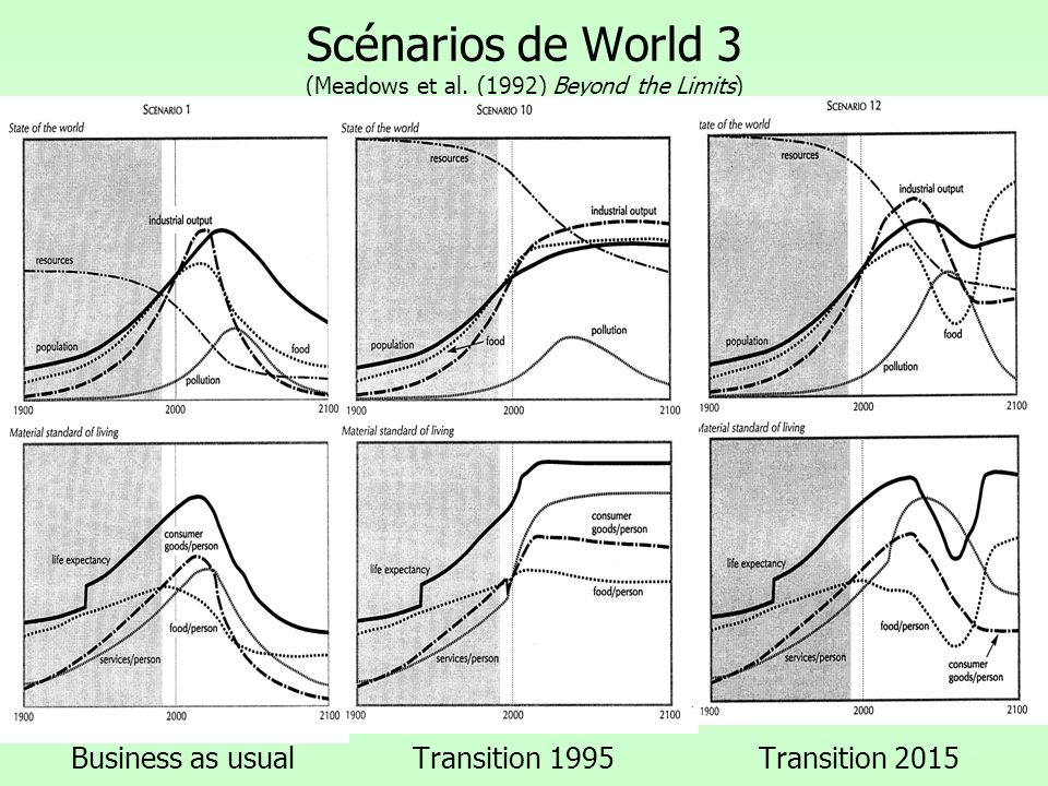 Scénarios de World 3 (Meadows et al. (1992) Beyond the Limits)