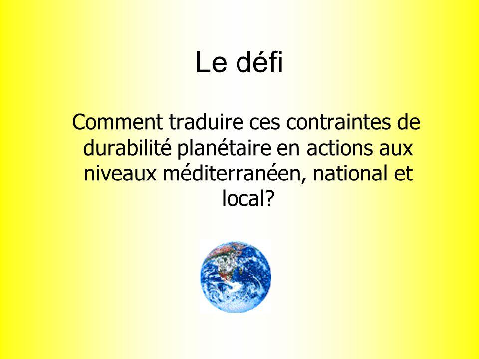 Le défi Comment traduire ces contraintes de durabilité planétaire en actions aux niveaux méditerranéen, national et local