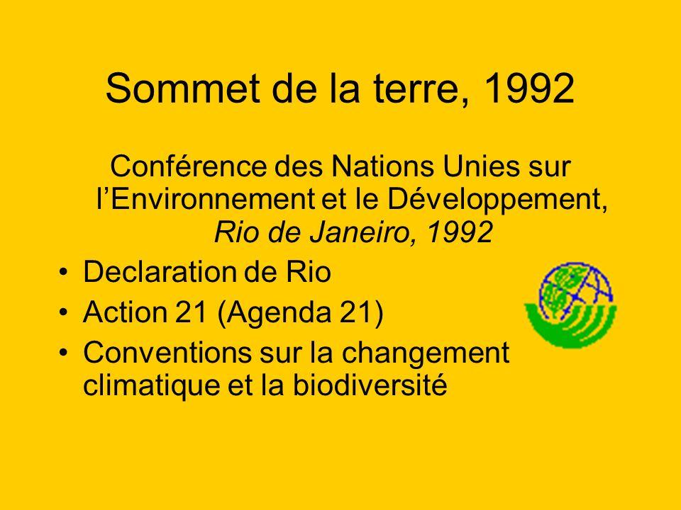 Sommet de la terre, 1992 Conférence des Nations Unies sur l'Environnement et le Développement, Rio de Janeiro, 1992.