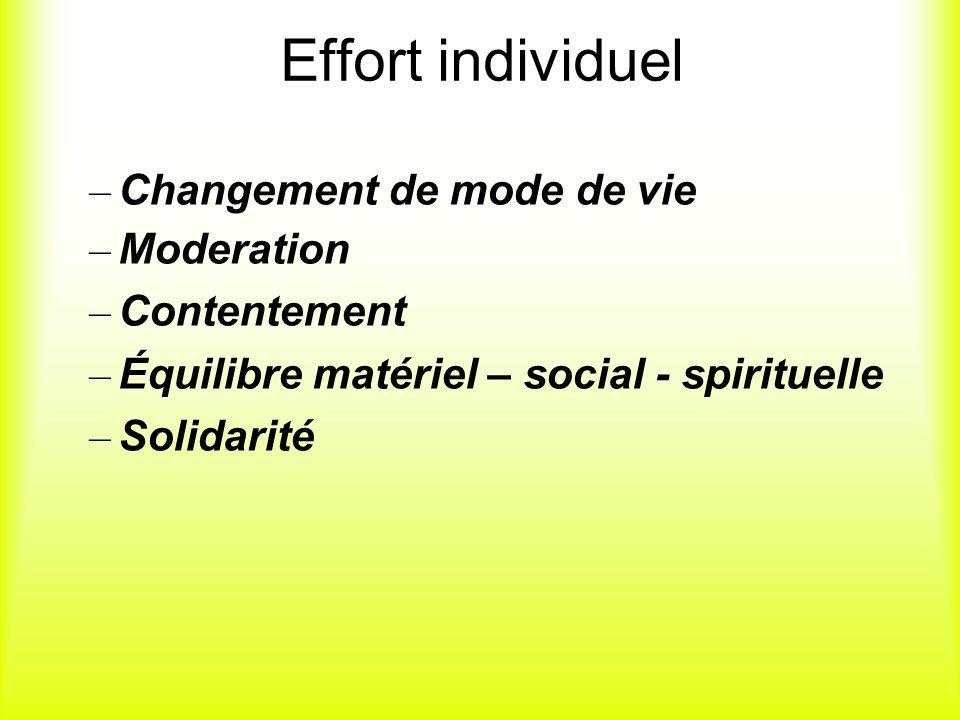 Effort individuel Changement de mode de vie Moderation Contentement