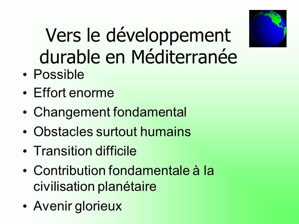 Vers le développement durable en Méditerranée