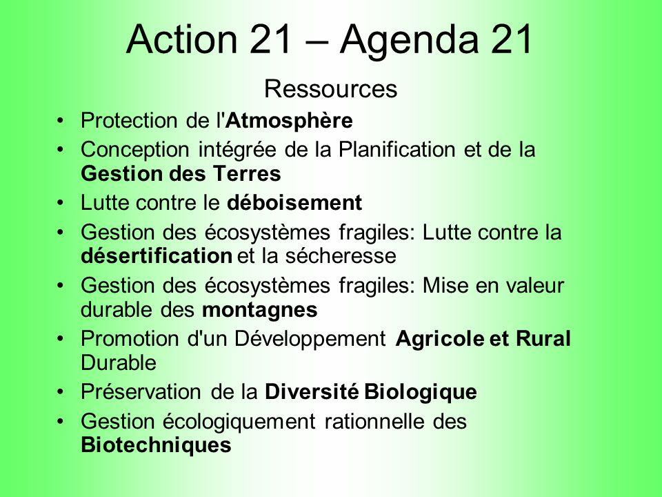 Action 21 – Agenda 21 Ressources Protection de l Atmosphère
