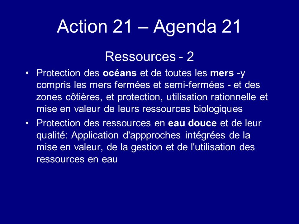 Action 21 – Agenda 21 Ressources - 2