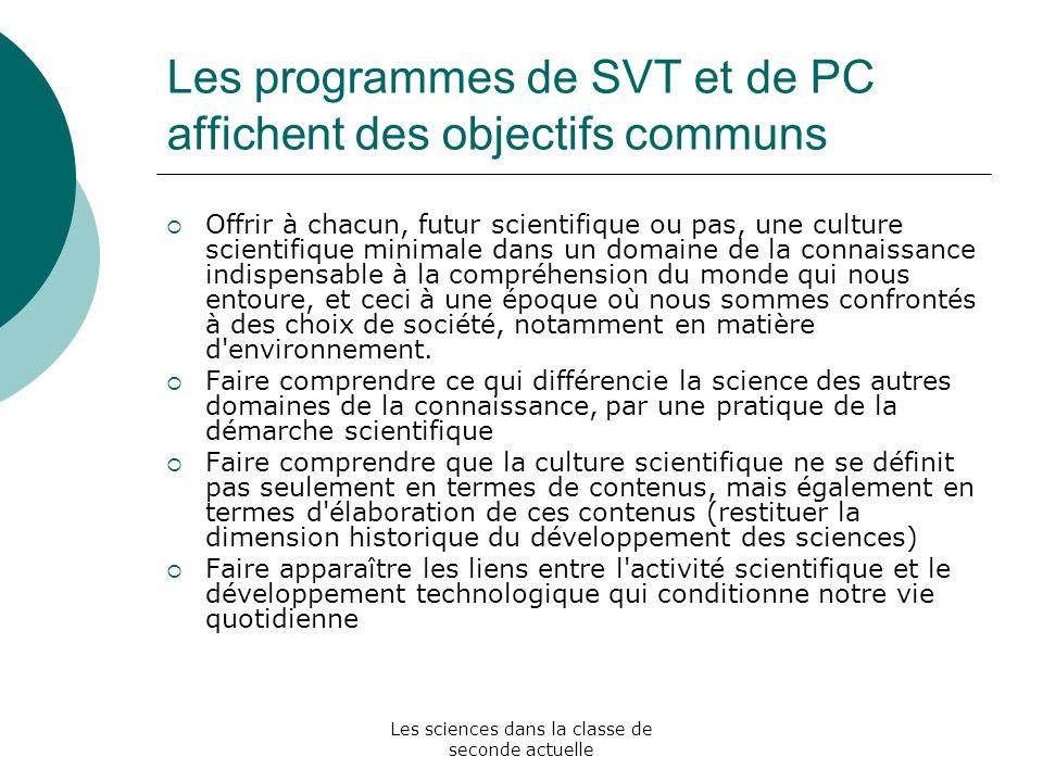 Les programmes de SVT et de PC affichent des objectifs communs