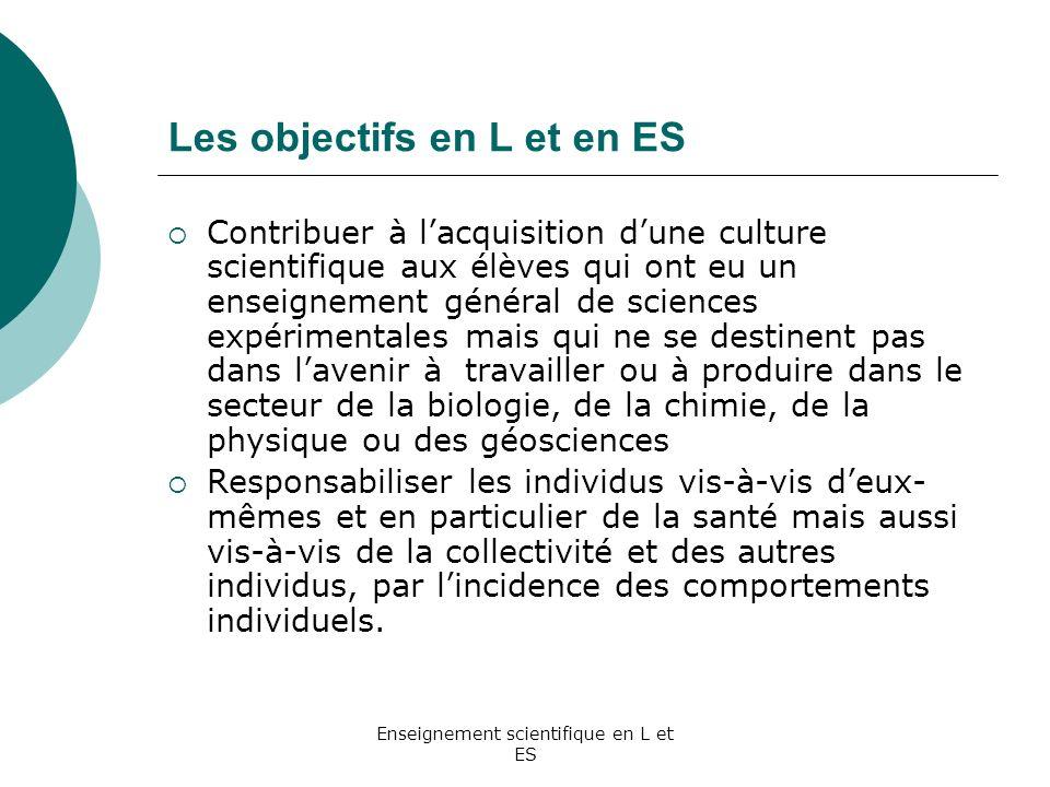 Les objectifs en L et en ES