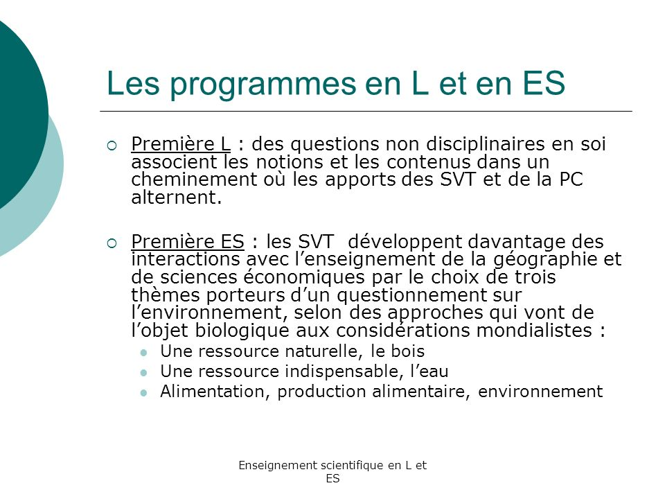 Les programmes en L et en ES