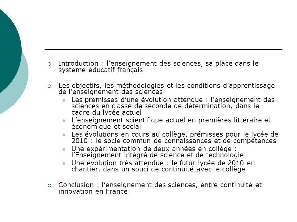 Introduction : l'enseignement des sciences, sa place dans le système éducatif français