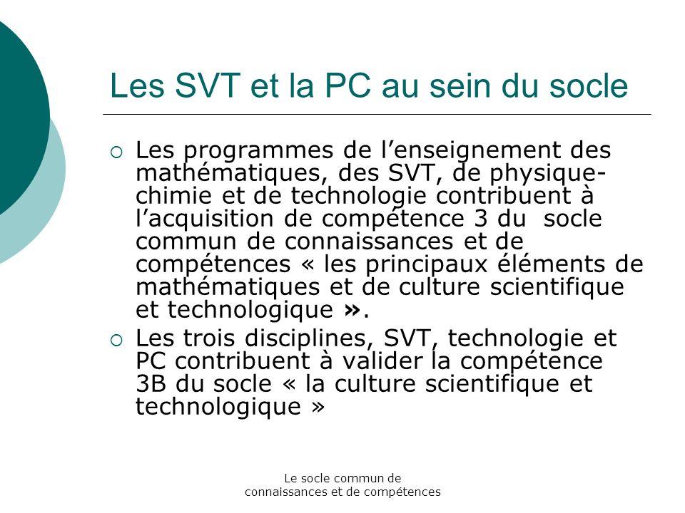 Les SVT et la PC au sein du socle