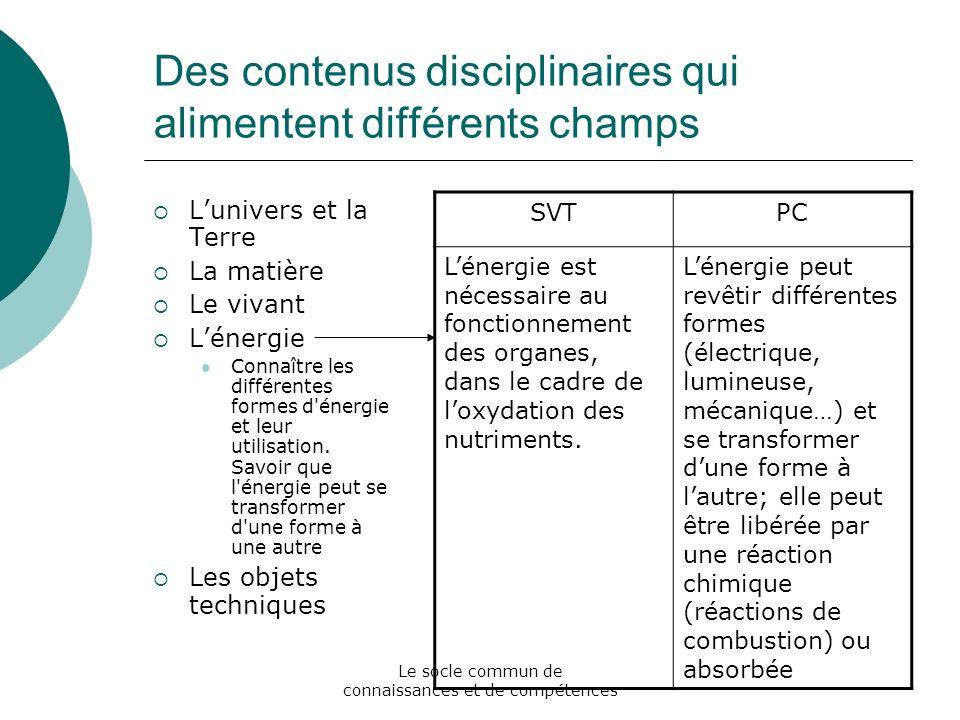 Des contenus disciplinaires qui alimentent différents champs