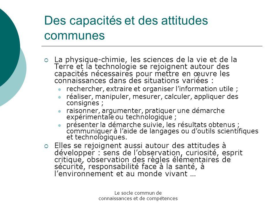 Des capacités et des attitudes communes