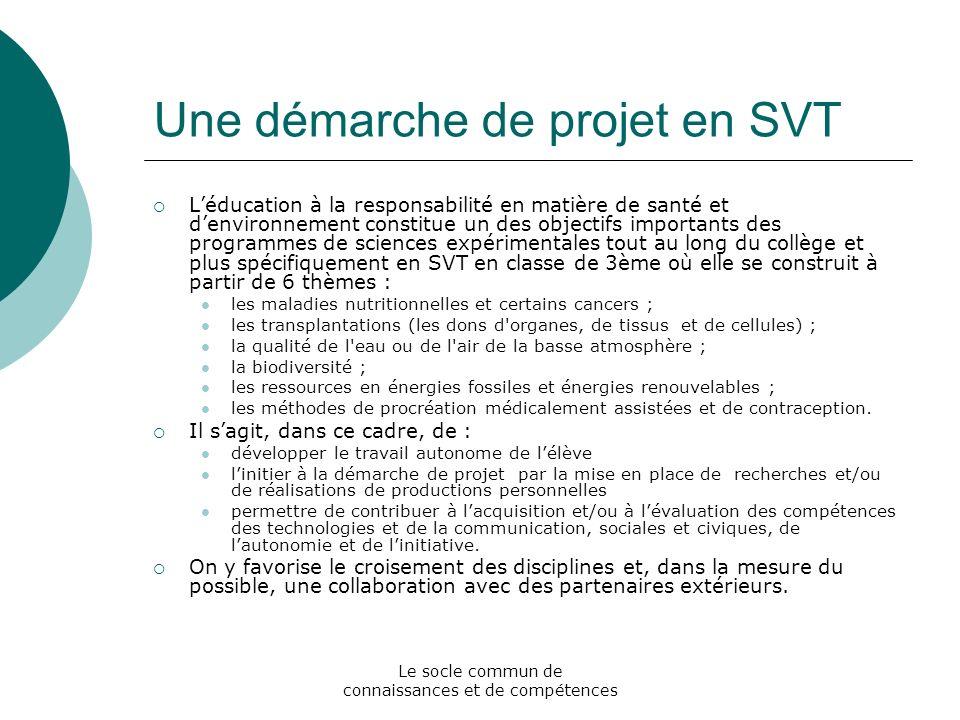 Une démarche de projet en SVT