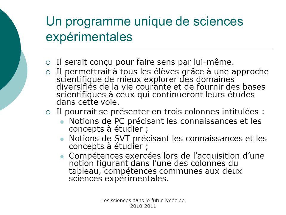 Un programme unique de sciences expérimentales