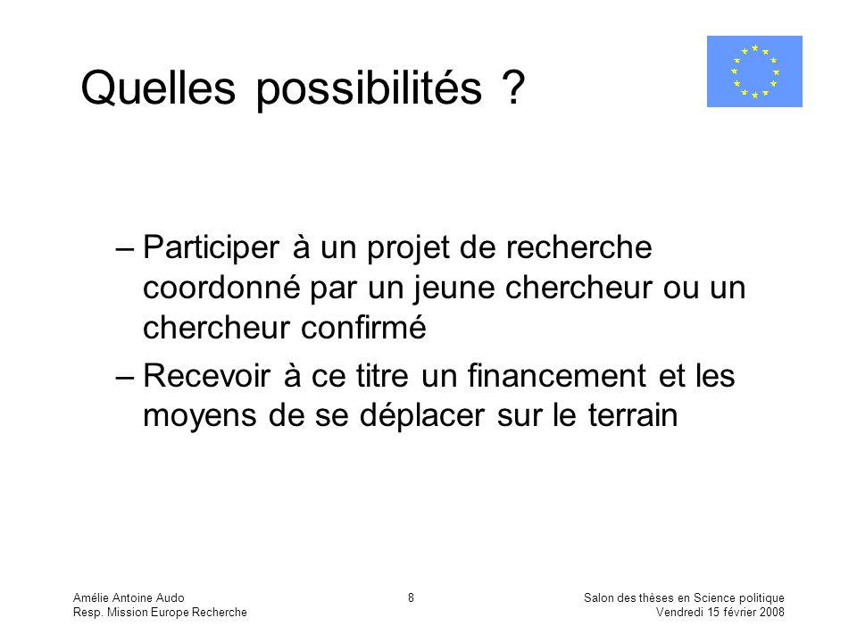 Quelles possibilités Participer à un projet de recherche coordonné par un jeune chercheur ou un chercheur confirmé.