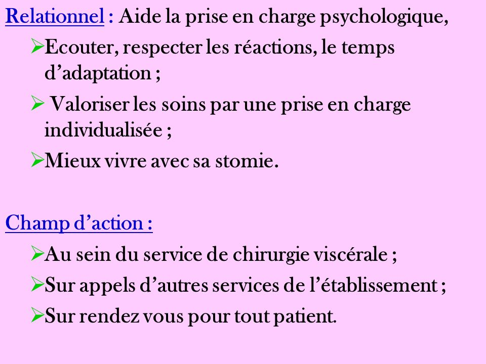 Relationnel : Aide la prise en charge psychologique,