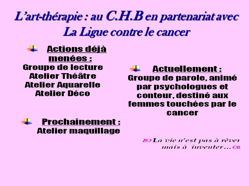 L'art-thérapie : au C.H.B en partenariat avec La Ligue contre le cancer