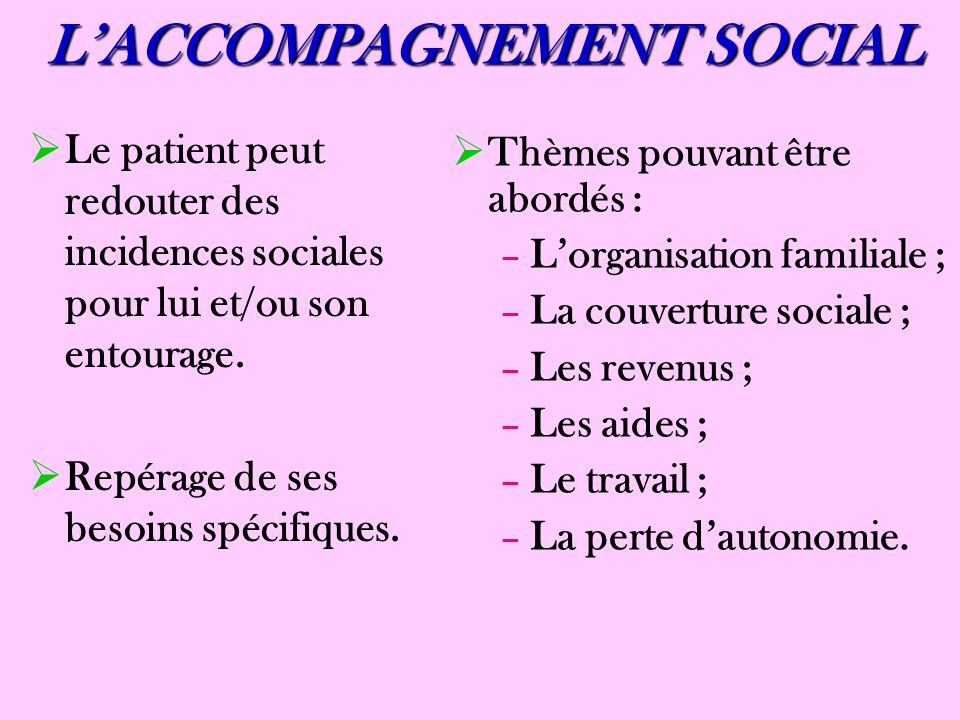 L'ACCOMPAGNEMENT SOCIAL