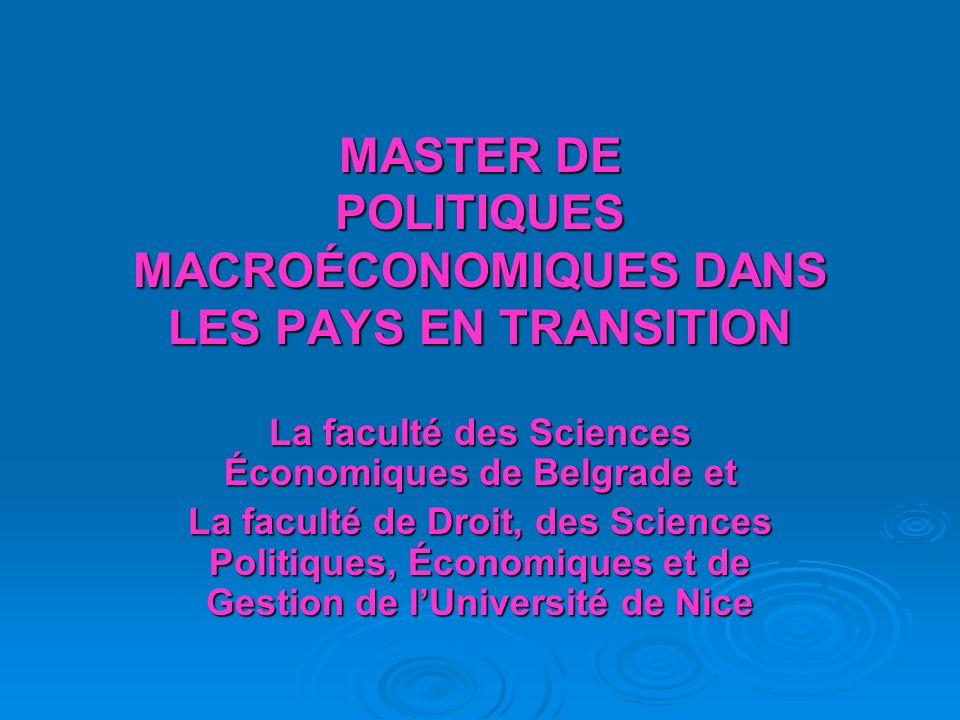 MASTER DE POLITIQUES MACROÉCONOMIQUES DANS LES PAYS EN TRANSITION