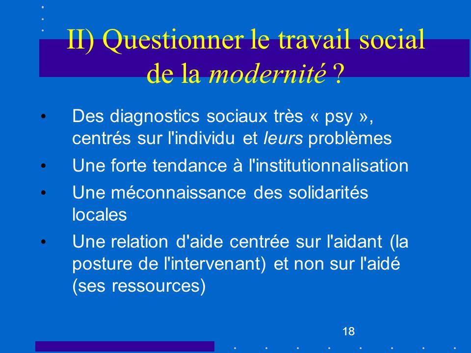 II) Questionner le travail social de la modernité